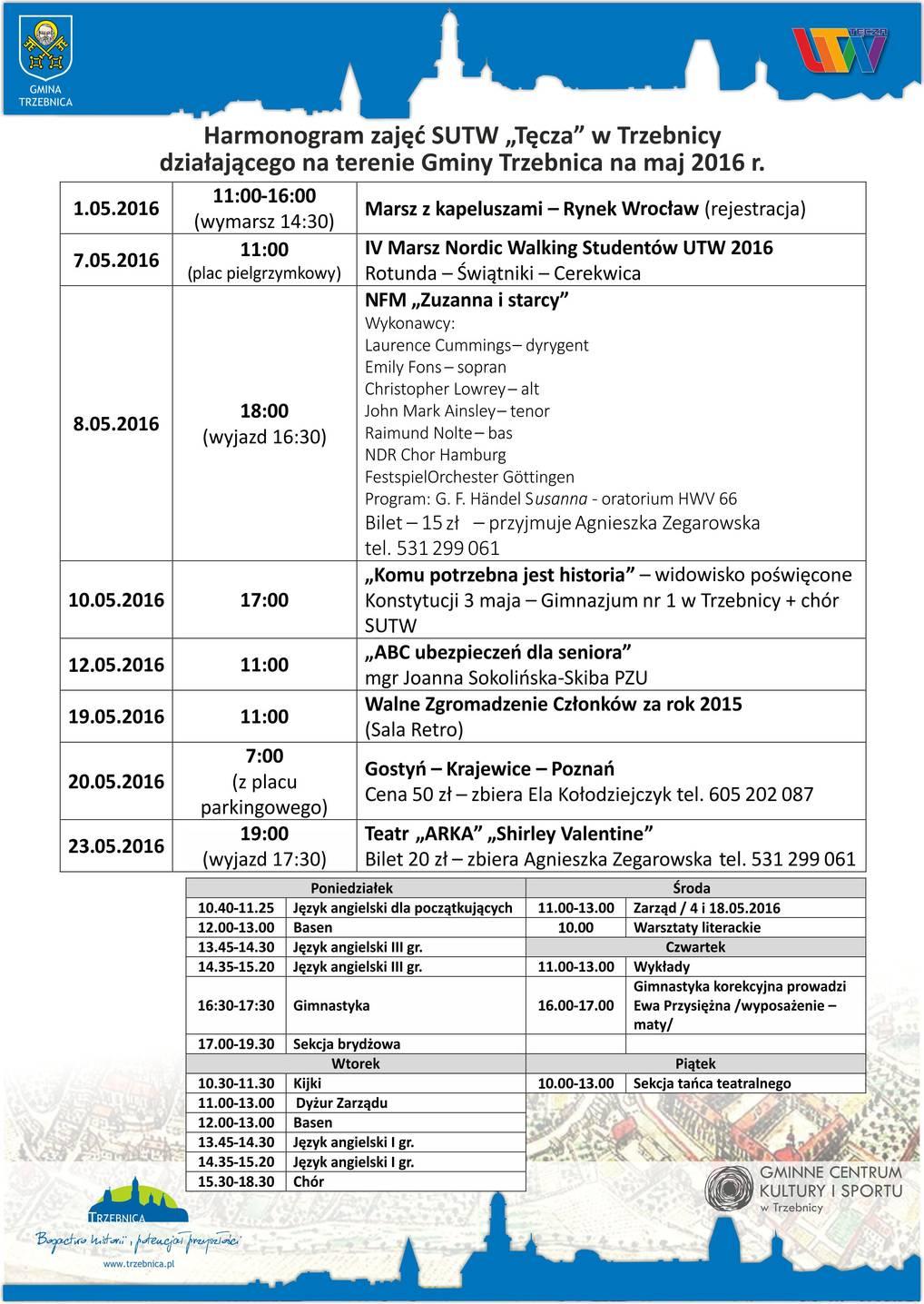 harmonogram na maj 2016