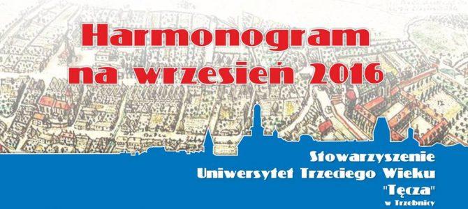 Harmonogram na wrzesień 2016